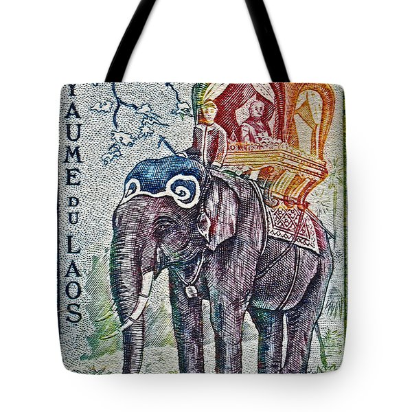 1958 Laos Elephant Stamp Tote Bag by Bill Owen