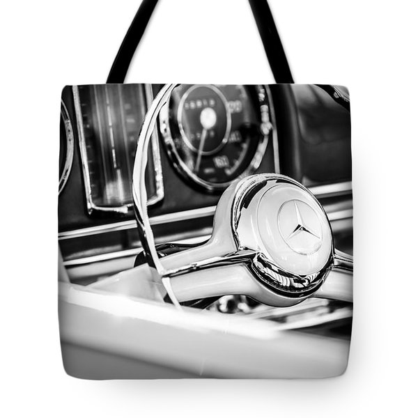1958 Mercedes-benz 300sl Roadster Steering Wheel -1131bw Tote Bag
