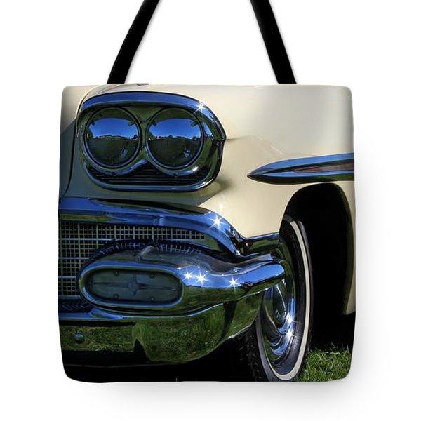 1958 Pontiac Strato Chief Tote Bag by Davandra Cribbie