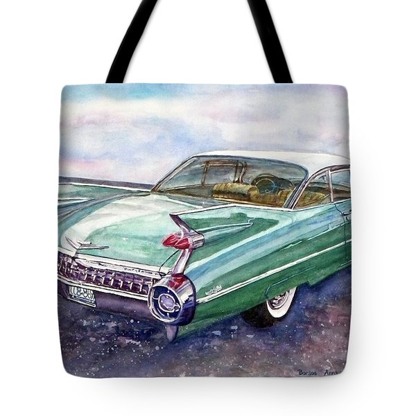 Tote Bag featuring the painting 1959 Cadillac Cruising by Anna Ruzsan