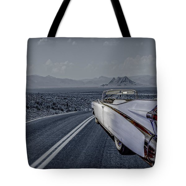 Tote Bag featuring the photograph 1959 Cadillac Eldorado Cool Night by LeeAnn McLaneGoetz McLaneGoetzStudioLLCcom