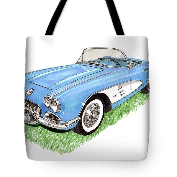 1959 Corvette Frost Blue Tote Bag by Jack Pumphrey