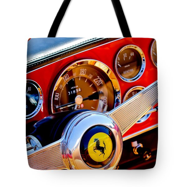 Tote Bag featuring the photograph 1960 Ferrari 250 Gt Cabriolet Pininfarina Series II Steering Wheel Emblem -1319c by Jill Reger