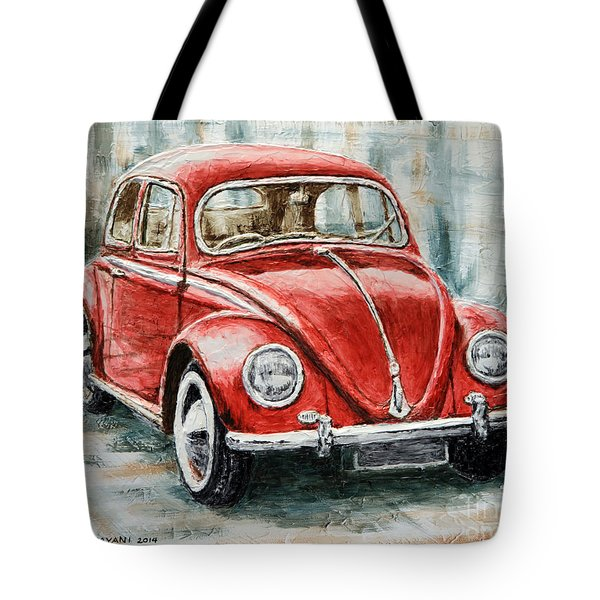 1960 Volkswagen Beetle 2 Tote Bag by Joey Agbayani