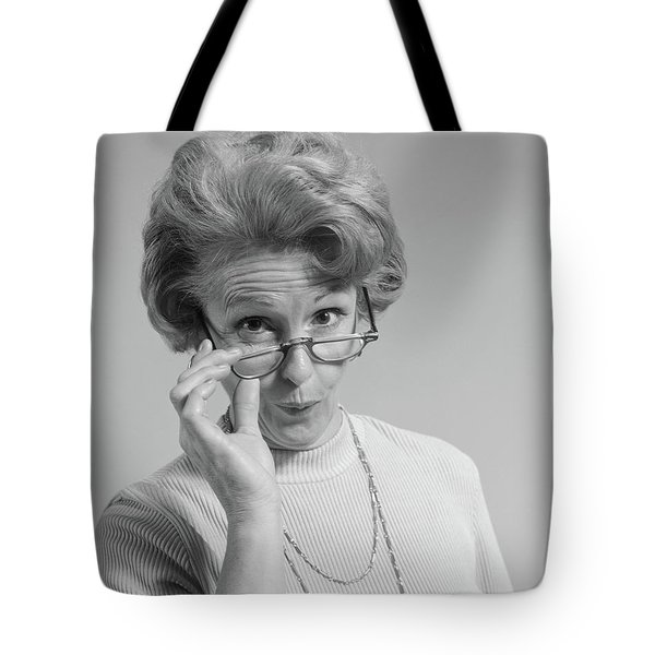 1960s 1970s Mature Woman Looking Tote Bag