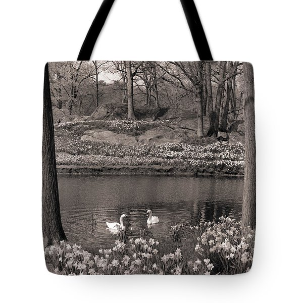 1960s 1970s Spring Landscape Pond Lake Tote Bag