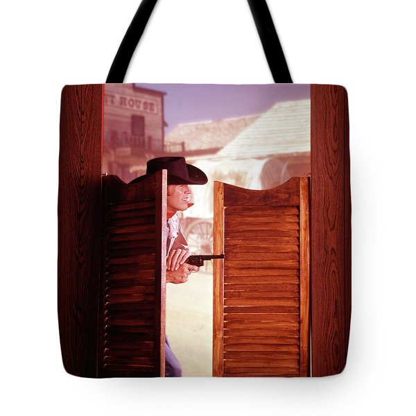 1960s 1970s Western Cowboy With Pistol Tote Bag