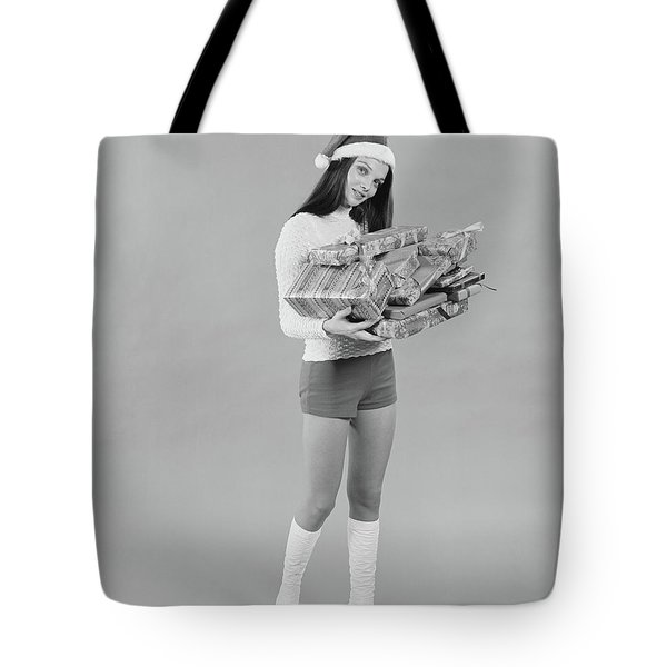 1960s 1970s Young Woman Wearing Santa Tote Bag