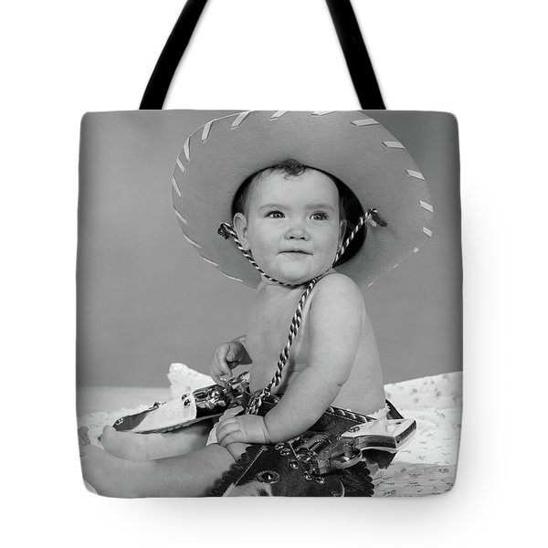 1960s Baby Girl Wearing Cowboy Hat Toy Tote Bag