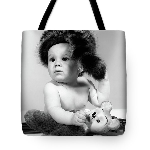 1960s Baby Wearing Coonskin Hat Tote Bag