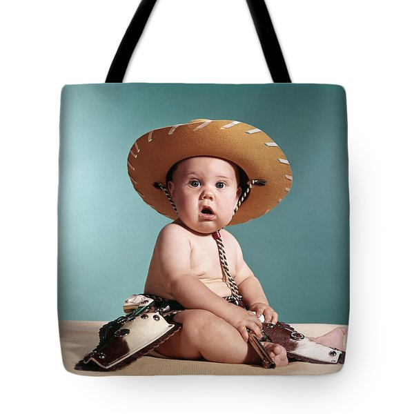 1960s Baby Wearing Cowboy Costume Tote Bag