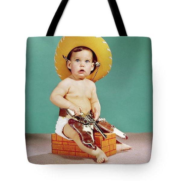 1960s Baby Wearing Cowboy Hat Tote Bag