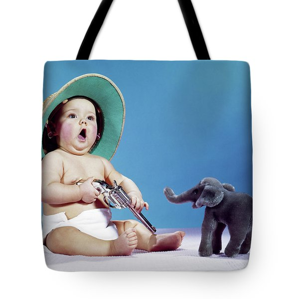 1960s Baby Wearing Pith Helmet Holding Tote Bag