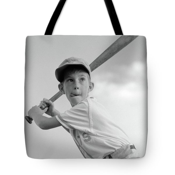 1960s Boy Playing Baseball Holding Bat Tote Bag
