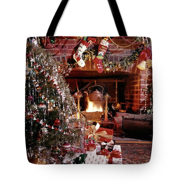 1960s Christmas Tree Stockings Presents Tote Bag