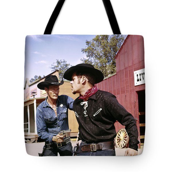 1960s Cowboy Sheriff With Badge Draws Tote Bag