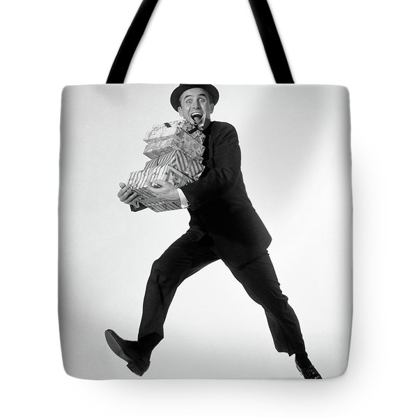 1960s Excited Enthusiastic Man Jumping Tote Bag