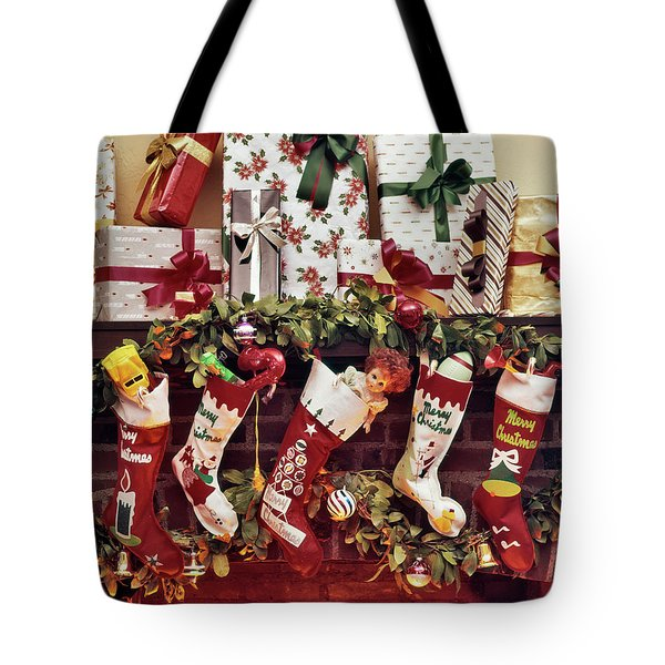 1960s Five Christmas Stockings Hanging Tote Bag