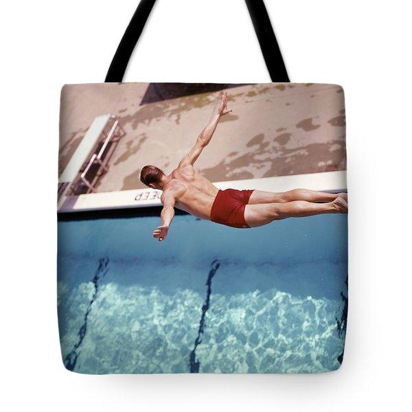 1960s Man In Red Swim Trunks Diving Tote Bag