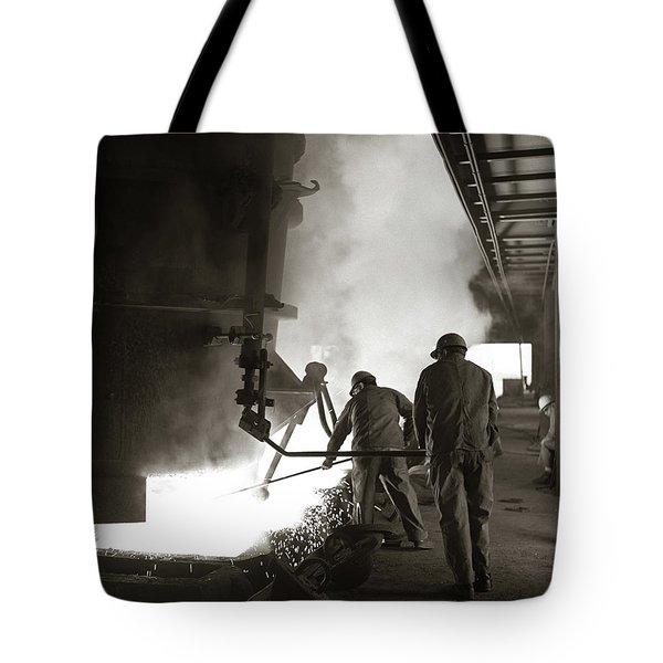 1960s Pair Of Steel Workers Wearing Tote Bag