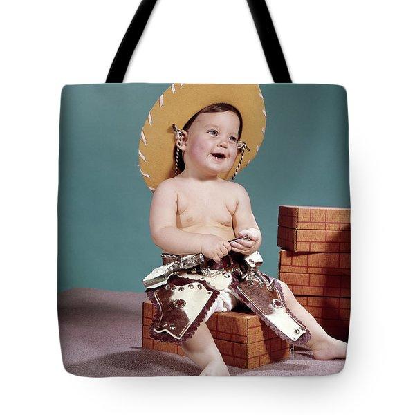 1960s Smiling Baby Wearing Cowboy Hat Tote Bag