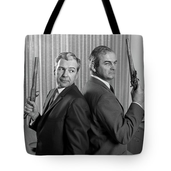 1960s Two Middle Aged Angry Businessmen Tote Bag