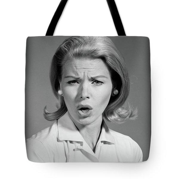 1960s Woman Blond Hair In Flip Looking Tote Bag