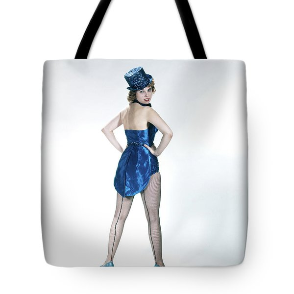 1960s Woman Looking Over Shoulder Wear Tote Bag