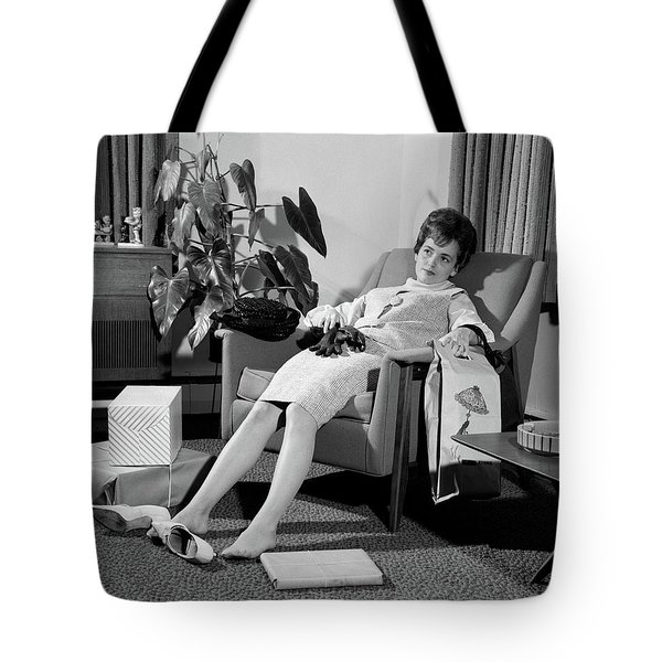 1960s Woman Plopped Down In Armchair Tote Bag