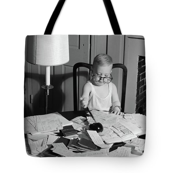 1960s Young Boy At Desk Wearing Glasses Tote Bag