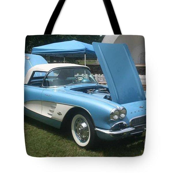 1961 Blue Jewel Metallic Corvette Tote Bag