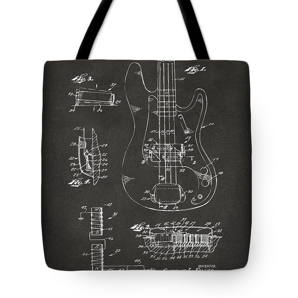 1961 Fender Guitar Patent Artwork - Gray Tote Bag