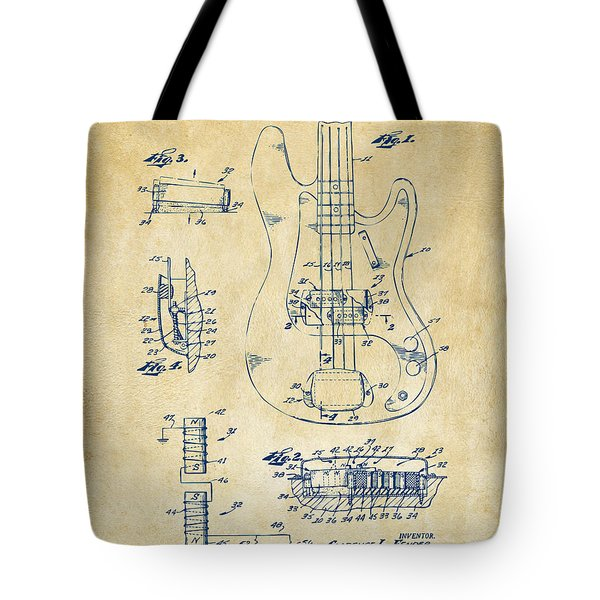 1961 Fender Guitar Patent Artwork - Vintage Tote Bag