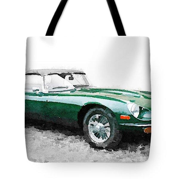 1961 Jaguar E-type Watercolor Tote Bag