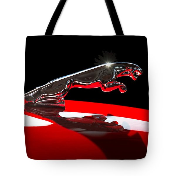 Tote Bag featuring the photograph 1961 Jaguar Kougar Hood Ornament -0569c by Jill Reger