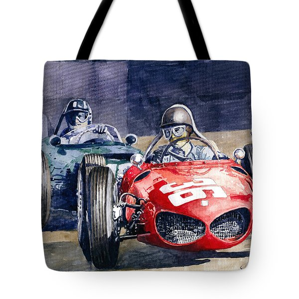 1961 Monaco Gp #36 Ferrari 156 Ginther  #18 Brm Climax P48 G Hill Tote Bag