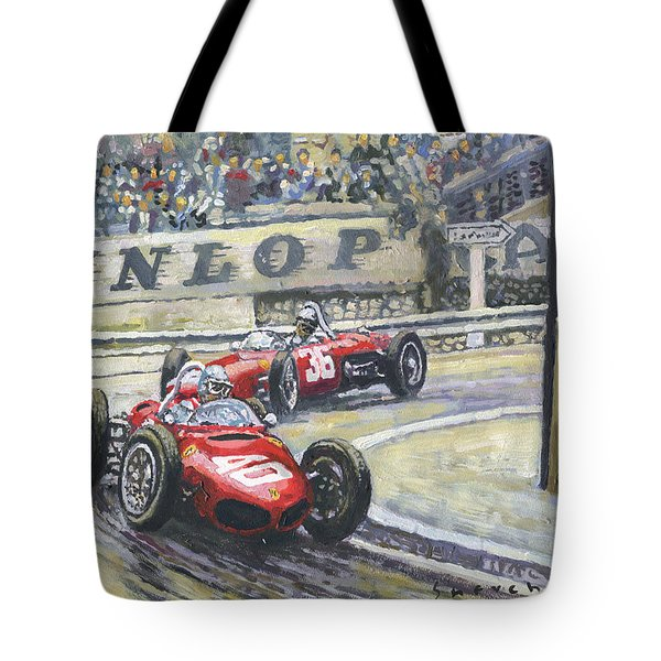 1961 Monaco Gp Ferrari 156 #40 Trips #36 Ginther Tote Bag