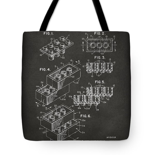 1961 Toy Building Brick Patent Art - Gray Tote Bag by Nikki Marie Smith