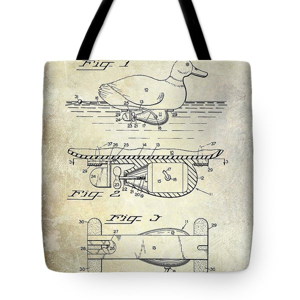 1963 Duck Decoy Patent Drawing Tote Bag