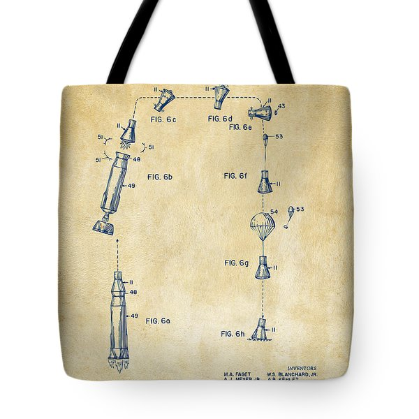 1963 Space Capsule Patent Vintage Tote Bag by Nikki Marie Smith