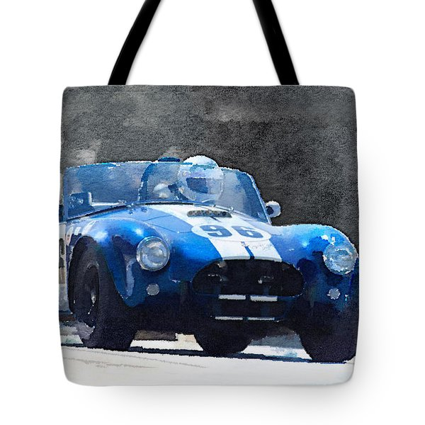 1964 Ac Cobra Shelby Racing Watercolor Tote Bag