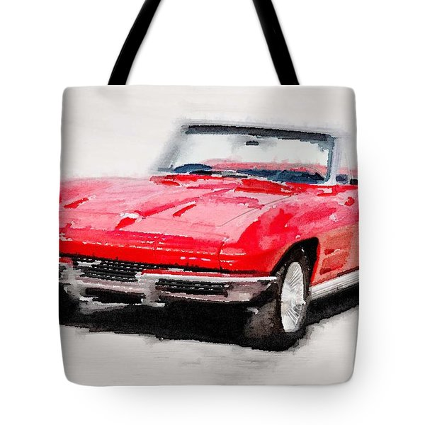 1964 Corvette Stingray Watercolor Tote Bag