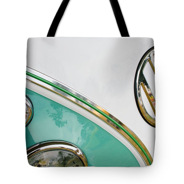 1964 Volkswagen Samba 21 Window Bus Vw Emblem Tote Bag by Jill Reger