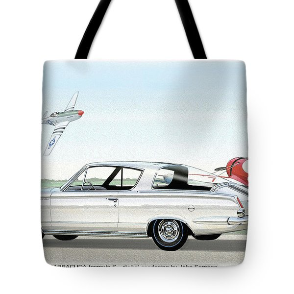 1965 Barracuda  Classic Plymouth Muscle Car Tote Bag