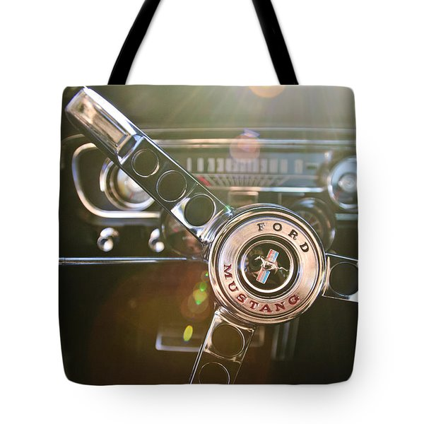 1965 Shelby Prototype Ford Mustang Steering Wheel Emblem Tote Bag by Jill Reger
