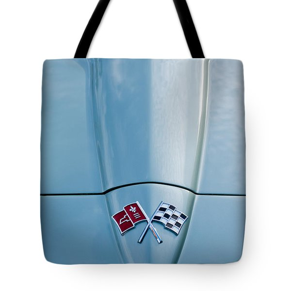 1966 Chevrolet Corvette Coupe Hood Emblem Tote Bag