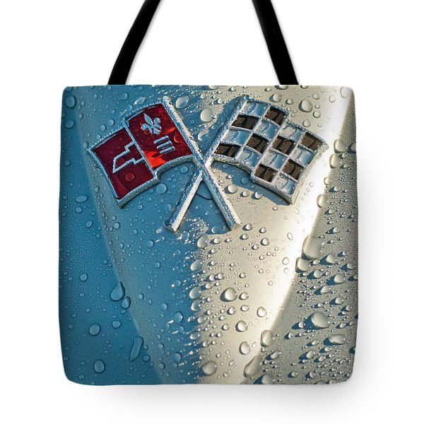 Tote Bag featuring the photograph 1966 Chevrolet Corvette Sting Ray Hood Emblem by Jill Reger