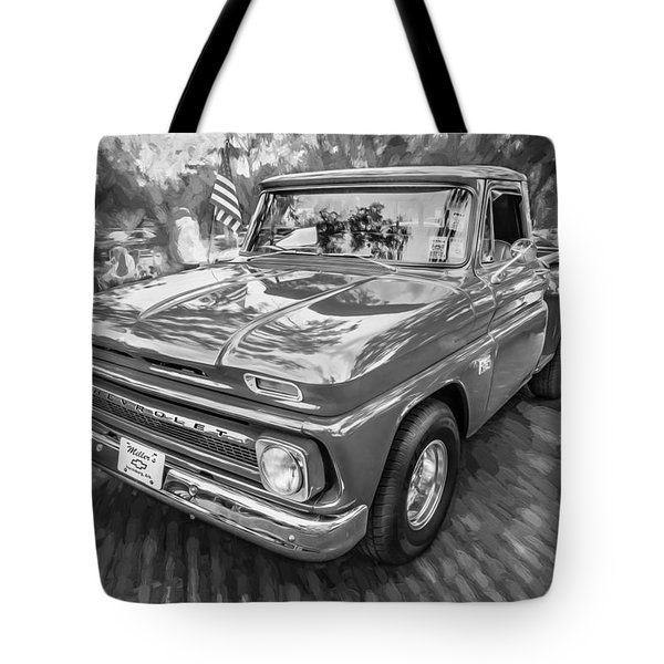 1966 Chevy C10 Pick Up Truck Painted Bw Tote Bag