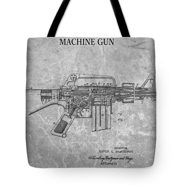 1966 Machine Gun Patent Charcoal Tote Bag