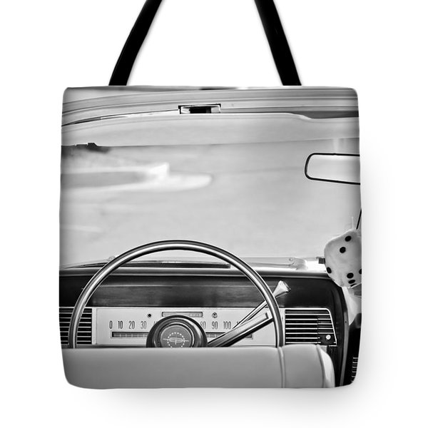 1967 Lincoln Continental Steering Wheel -014bw Tote Bag